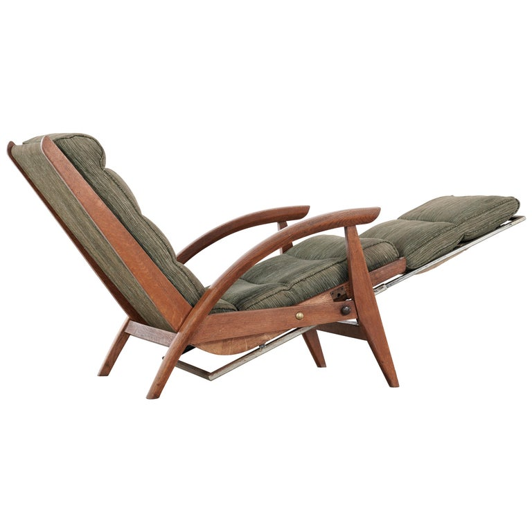 Guy Besnard FS 134 Reclining Lounge Chair, 1954 for Free Span, France Prouvé