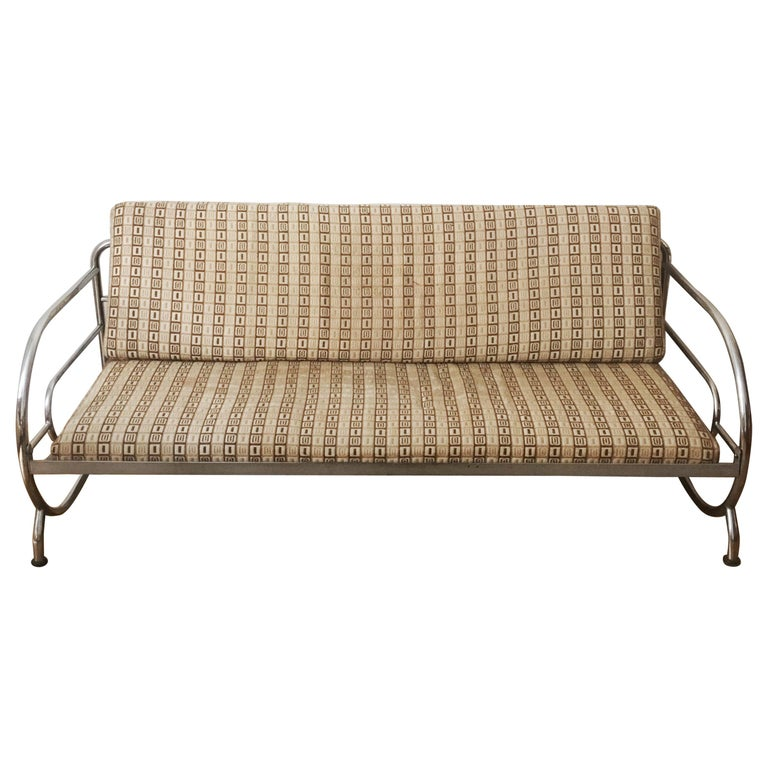 Tubular Steel Couch / Daybed by Robert Slezak, 1930s For Sale