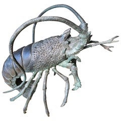"Japanese Antique Bronze Jumbo ""Lobster"" , Early 20th Century"