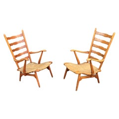 Paolo Buffa 'Attributed to' Pair of Cherrywood and Straw Italian Armchairs