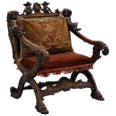 Original 17th Century Andrea Brustolon Hand Carved Italian Walnut Armchair
