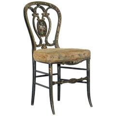 18th Century Very Rare Early Georgian Hand Painted Chinoiserie Ebonized Chair