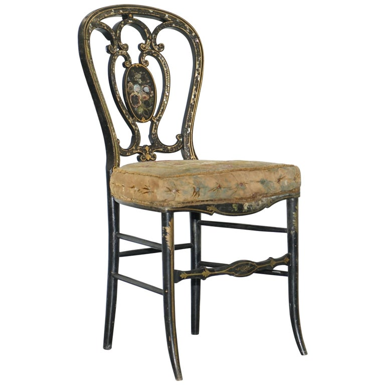 18th Century Very Rare Early Georgian Hand Painted Chinoiserie Ebonized Chair For Sale