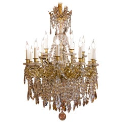 Late-19th Century Gilt-Bronze and Cut-Crystal Large Chandelier Sign by Baccarat