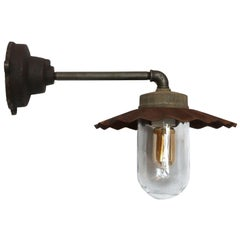 Cast Iron Vintage Industrial Rust Shade Clear Glass Wall Lights
