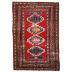 Handmade Vintage Distressed Uzbek Bukhara Rug, 1960s, 1C615