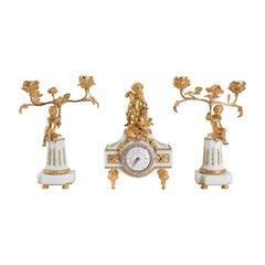 Pendulum, Cartel, Napoleon III Period, 19th Century, Gilt Bronze, Marble