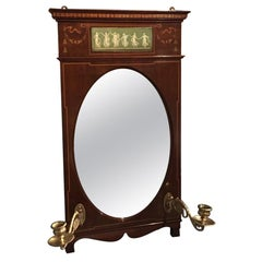 Fine Quality Mahogany Edwardian Period Wall Mirror with Candle Sconces