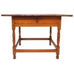 18th Century Antique American Tavern Table with Breadboard Top