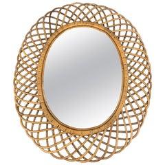 Large Mid Century Italian Riviera Franco Albini Rattan and Bamboo Oval Mirror
