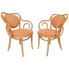Pair of Bentwood Armchairs in the Manner of Thonet No. 5, circa 1950s