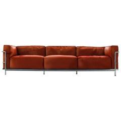Le Corbusier LC3 Divano Three-Posti Fauteuil Grand Confort Sofa, 1928, Cassina