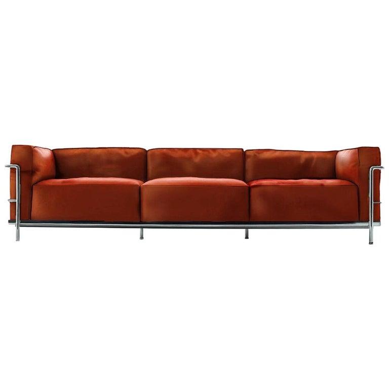 le corbusier lc3 divano three posti fauteuil grand confort. Black Bedroom Furniture Sets. Home Design Ideas