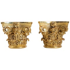 Pair of Column Tops Carved and Gilded, 20th Century