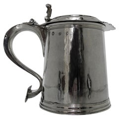 Large Antique 17th Century Silver Tankard London, 1691, Francis Garthorne