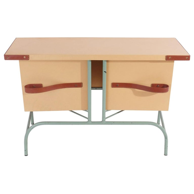 Jacques Adnet Console or Buffet with Pivoting Drawers for Hermes For Sale