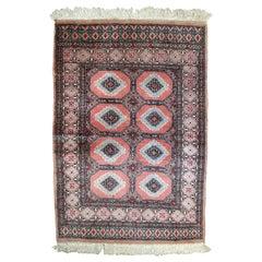 Handmade Vintage Uzbek Bukhara Rug, 1960s, 1C618
