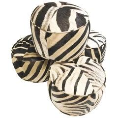 Forsyth Zebra Hide Pouf Ottoman