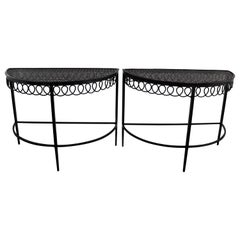 "Pair of Mathieu Matégot Low Tables ""Demi Lune"" End of Sofa Tables"