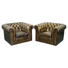 Two Vintage Chesterfield Leather Club Armchairs Feather Cushions