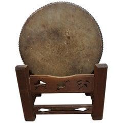 20th Century Japanese Traditional Keyaki Wood Flat Drum, Hira Taiko, 1930s