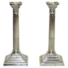 Pair of Antique Silver Corinthian Colum Candlesticks