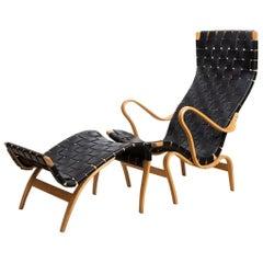 Bruno Matsson Lounge Chair Pernilla 2 and Ottoman Pernilla 69