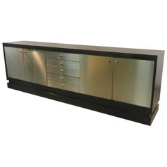 Acerbis Attributed, Very Long Brushed Steel and Blackened Oak Sideboard
