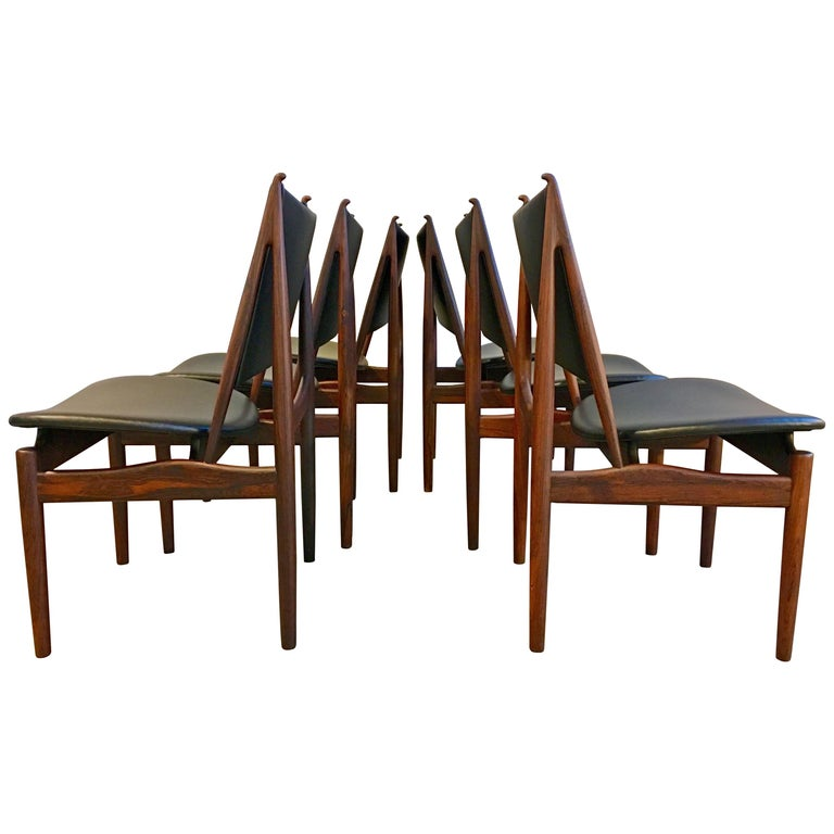 Authentic Finn Juhl Egyptian Chairs for Niels Vodder in Rosewood, Set of Six For Sale