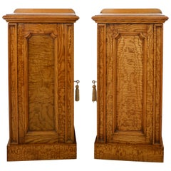 Pair of Scottish William IV Burr Elm Bedside Cabinets or Cupboards, circa 1830