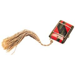 Swiss Art Deco Red, Black & Gray Enameled Purse Watch with Silk Tassel by Lusina