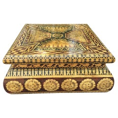 Karl Springer Style Coffee Table in Lacquered Batik Finish