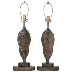 1940s French Moderne Cerused Oak Leaf Lamps
