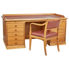 Late 20th Century Large Danish Pine Desk and Chair by Finn N Hansen
