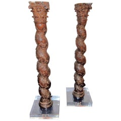 Pair of Italian Oak or Beech Architectural Carved Solomonic Corinthian Columns