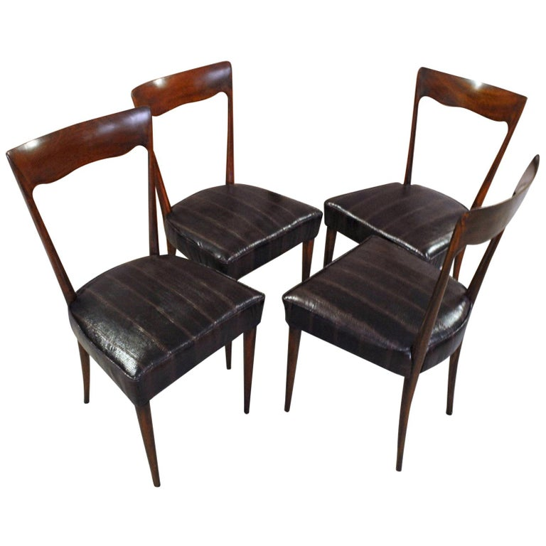 Silvio Cavatorta Four Dining Chairs, Fully Restored, Mahogany and Snake Leather For Sale