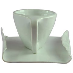 Hand Carved Porcelain Cup and Tray with White Glossy Glaze