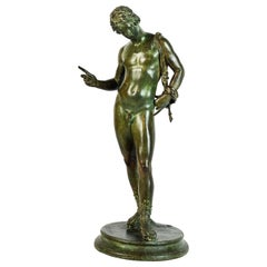 19th Century Bronze Figure, Narcissus after the Antique V. Gemito Foundry Naples