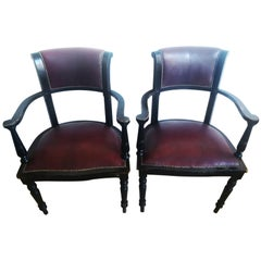 Leather Club Chairs a Wine and Black Color ,England,