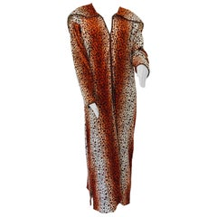 1970s Moroccan Hooded Caftan Animal Print Djellabah Kaftan