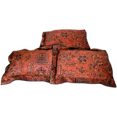 Vintage Large Wool Rug Pillows, Mid-20th Century, Chinese Rug Fragment