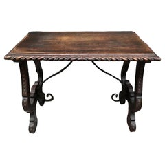 Console or Side Table of Chestnut with Carved Lyre Base, Spanish 18th Century