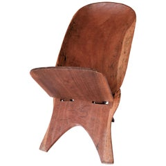African Hand Carved Wooden Birthing Chair, 2 Piece