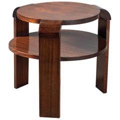 Art Deco Mahogany Two-Tier Round Table Vintage French, circa 1930