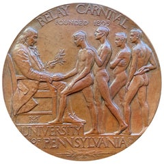 Rare Bronze Plaque Celebrating Penn Relays with Male Nudes, by Tait McKenzie