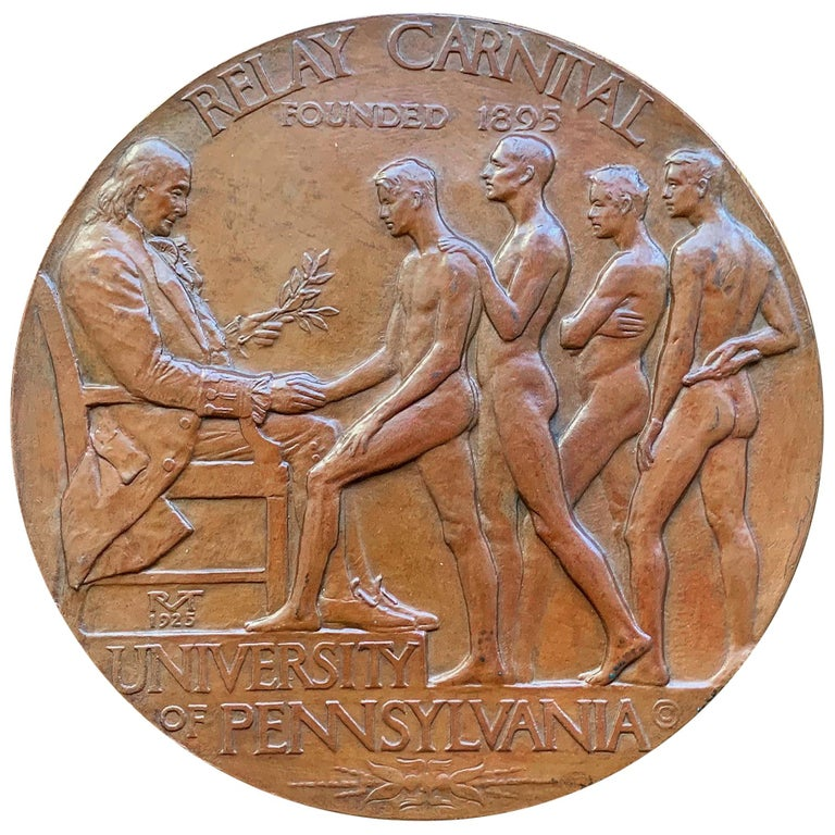 Rare Bronze Plaque Celebrating Penn Relays with Male Nudes, by Tait McKenzie For Sale
