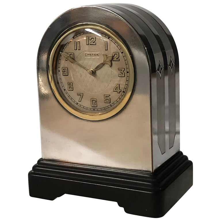 Cartier Sterling and 18-Karat Gold Clock For Sale