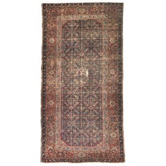 Antique Large Runner Mahal Style Hand Knotted Rug