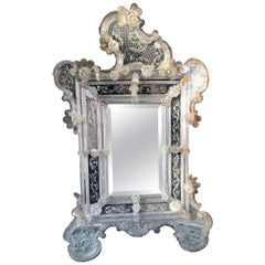 Murano Glass Venetian Floral Beautiful Wall Mirror, Italy, circa 1870