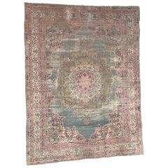 Antique Distressed Indian Kirman Lavar Style Large Rug